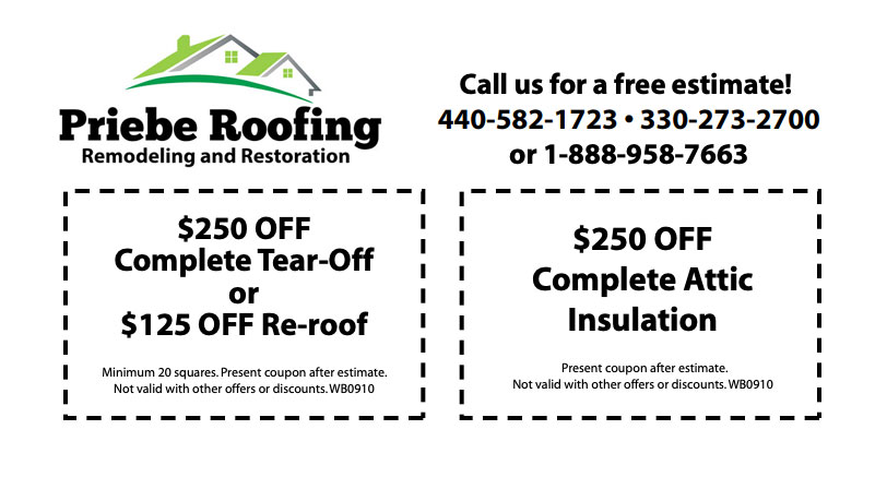 Priebe Roofing Special Promotions